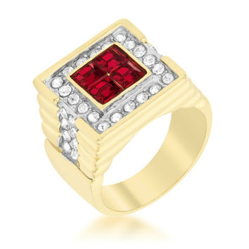 Elliot Ruby Gold  Men Ring | 3ct | Cubic Zirconia | 18k Gold