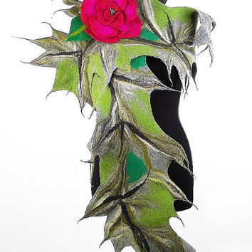 Felted Scarf Nunofelt Scarf JUNGLE with fuschia pink Brooch Long Wrap Felt Scarves wearable art Felt