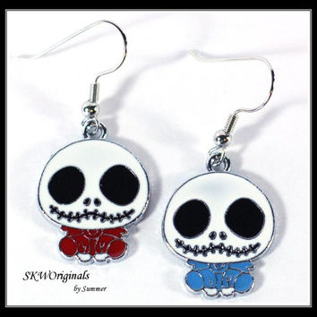Nightmare before Christmas Enamel Charm Earrings / Cartoon Charms / Girls Earrings Jewelry Womens Earrings Mix and Match Red and Blue