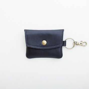 Black Leather Keychain Wallet, Coin Purse, Credit Card Wallet, ID Wallet, Business Card Wallet