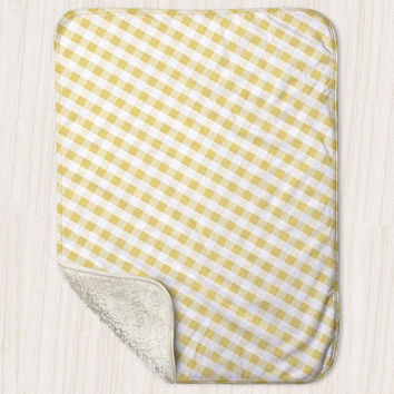 "Yellow Gingham Pattern Baby Blanket - Sherpa Fleece Blanket Size 30"" x 40"" - Made to Order"