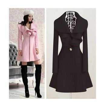 2017 new fashion women autumn winter peacoat cute full sleeve V neck slim ruffles overcoat solid long lady coat