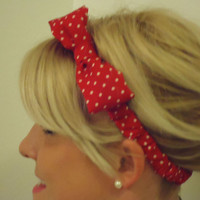 Red and White polka dot bow headband for adult/child/infant
