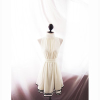 Jane Austen White Cream Rockabilly Steampunk Halter Swing Bridesmaid Grace Kelly Ethereal Flowy Great Gatsby Marilyn Monroe Long Tunic Dress