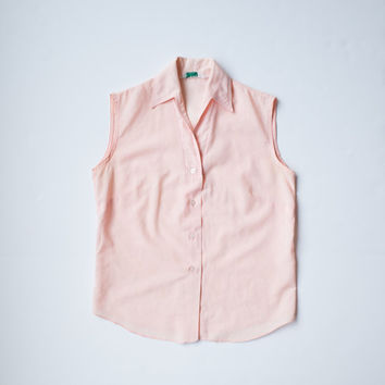Peach Swiss Dot Button Down Top / Sleeveless Pink Blouse / Vintage Women's Clothing