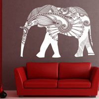 Elephant Wall Decal Vinyl Sticker Decals Art Decor Design Mural Ganesha Om Indiant Tattoo Mandala Tribal Buddha Karma yoga decor wall decor