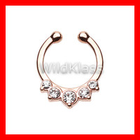 Rose Gold Fake Septum Ring Horseshoe Multi Gem Precia Clip-On Cartilage Earrings Nipple Ring Circular Barbell Tragus Jewelry Helix Conch