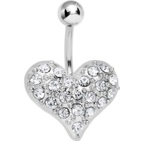 Clearly Clear Sparkle Heart On Belly Ring - Walmart.com