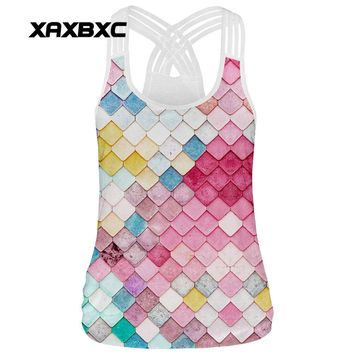 XAXBXC 002 Summer Sexy Girl Tank Tops Rainbow Mermaid Scale Plaid Print Rope Elastic Slim Fitness Women Top Sling Vest Waistcoat