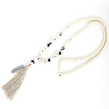 White stone turquois beads handmade tassel pendant long necklace boho style knotted necklace women jewelry