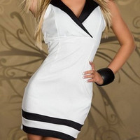 White V-Neck Sleeveless Mini Dress