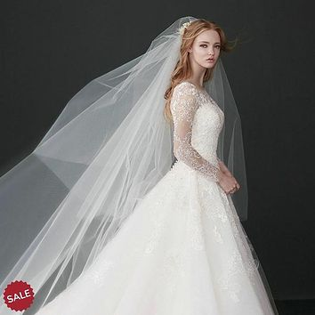 Ivory Tulle Cathedral Bridal Veil With Comb
