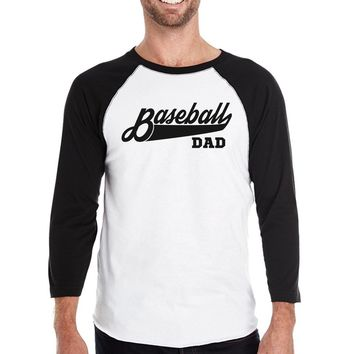 Baseball Dad Men's Baseball 3/4 Sleeve Shirt Gift For Baseball Fans
