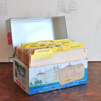 Vintage Shredded Wheat Recipe Box, Full of Vintage Recipe Cards