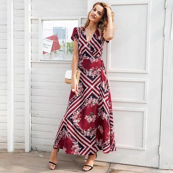 8DESS Boho print v neck wrap dress Elegant high waist long women vestidos Short sleeve maxi dress