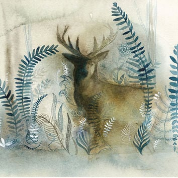 Print - Watercolor painting - Stag in Blue Forest