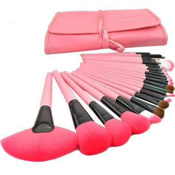 24 pcs Professional Pink Cosmetic Makeup Brush Contour Foundation Hightlight Tool Set with Case