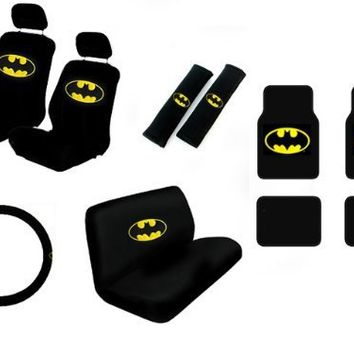 Warner Brothers Batman Seat Cover & Floor Mat for Car - Universal Fit Auto Accessories w/ Belt Pad, Steering Wheel Cover