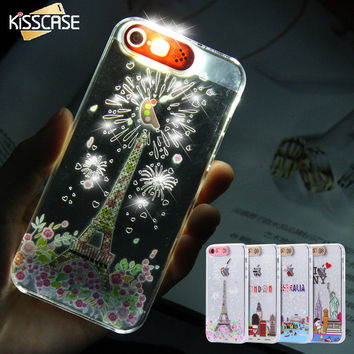 Kisscase led de luz de flash smart case para iphone 5 5s se teléfono case cartoon city claro transparente de la contraportada para el iphone 5s SÍ