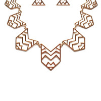 Chevron Cut-Out Metal Short Necklace