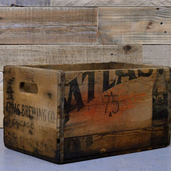 RARE Vintage Beer Crate, Wood Beer Crate, Atlas Brewing Company, Chicago Decor, Breweriana