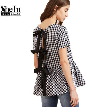 SheIn Women Short Sleeve Blouse Black And White Checkered Bow Split Back Peplum Top Plaid Womens Summer Cute Blouse