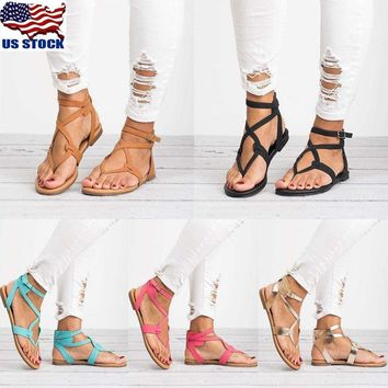 Womens Summer Flip Flops Sandal Cross T Strap Thong Flat Buckle Beach Shoes Size