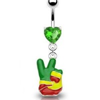 "Amazon.com: 14g Dangling Rasta Peace Sign Finger Sexy Belly Button Navel Ring Dangle Body Jewelry Piercing with Green Cz Heart and Surgical Steel Bar 14 Gauge 3/8"" Nemesis Body JewelryTM: Everything Else"
