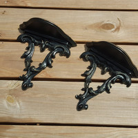 Pair of Vintage Wall Sconces Painted Black Distressed Home Decor Wall Decor Upcycled