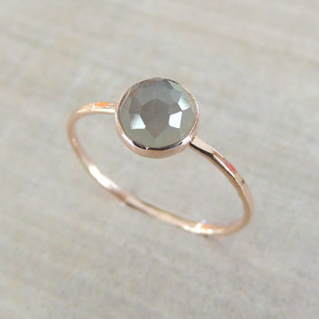 Rose Cut Ring, Rose Cut Moonstone Ring, Gold Moonstone Ring, Grey Moonstone Ring, Wedding Gift, Valentines Gift Idea, Rose Gold Ring