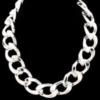 Celebrity Inspired Thick Silver Chain Link Necklace