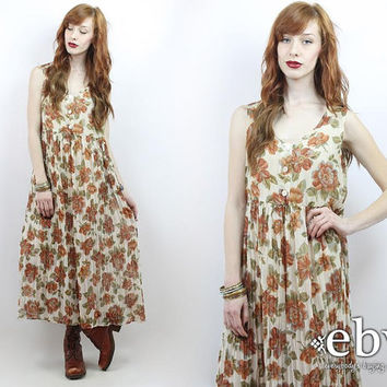 Vintage 90s Floral Midi Dress Floral Maxi Dress Sheer Floral Dress 90s Floral Dress Festival Dress Soft Grunge Dress Hippie Dress Boho Dress