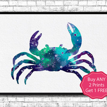 Crab 2 Watercolor Print Nautical Art Watercolor Sea Animal Painting Wall Hanging Giclee Home Decor Blue Crab Illustration Wall Crab Poster
