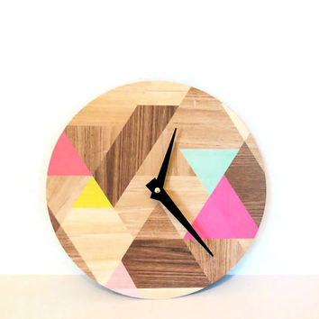 Wall Clock,  Etsy Art,  Modern Clock, Woodgrain Pattern, Round Face Modern Clock,  Geometric Design, Printed Wood Design,