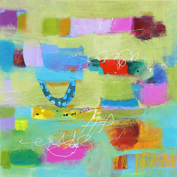 Modern Art Abstract Print on Paper – Gallery Wall Small Art Print Featuring Blue, Green, Pink, Red, Orange Design 10 x 10