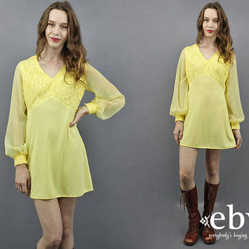 1970s Party Dress 70s Party Dress Yellow Dress Babydoll Dress 1970s Dress 70s Dress Lace Dress Prom Dress Hippie Dress Longsleeve Dress S M