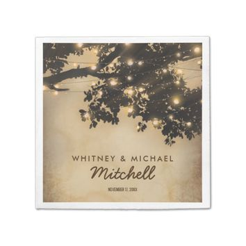 Vintage Rustic Country Tree Lights Wedding Paper Napkin