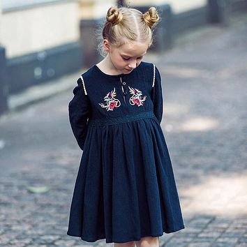 Baby Girl Dress Long Sleeve Christmas Dress with Embroidery Cotton Autumn Dresses Kids Clothes