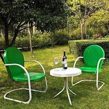 DCCK1IN conversation set 3 pcs table chair patio outdoor metal seat garden retro green