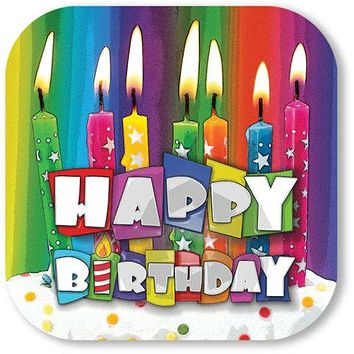 "9"""" Birthday Bright Candle Plate - 8 count Case Pack 24"