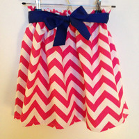 Chevron Skirt Pink White Cream with Ribbon Game Day Sorority