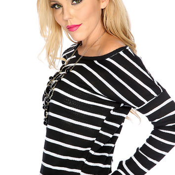 Black White Long Sleeves Stripe Off The Shoulder Casual Top
