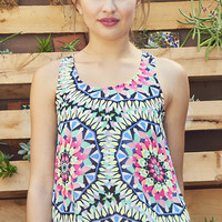 Psychedelic Printed Flowy Tank Top