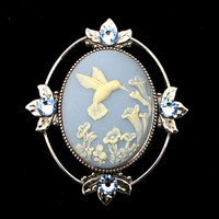 Cameo Brooch or Pendant Hummingbird and Flowers with Crystal Accents