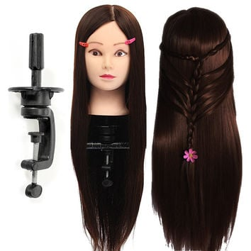 30% Human Hair Hairdressing Training Mannequin Head Dark Brown With Practice Head Clamp