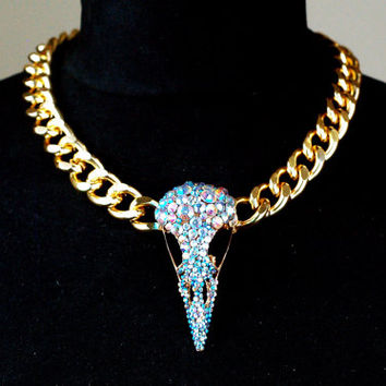 NEW for Winter 2015 OOAK REAL jackdaw skull hand painted crystal rhinestones Taxidermy gold curb chain skull necklace