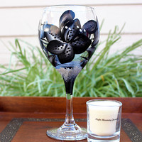 Hand Painted Black Lily Flowers Wine Goblet
