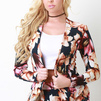 Textured Knit Floral Print Open Front Blazer