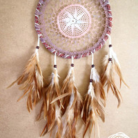 Dream Catcher - Forest Mandala - Unique Dream Catcher with Transitional Handmade Crochet Web and Brown Feathers - Mobile, Home Decor
