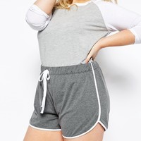 ASOS CURVE High Waist Runner Short with Binding